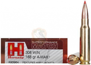Набій Hornady Superformance Match кал .308 Win куля A-Max маса 168 гр (10.9 г)